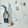 'Flache und Vase' Olie op papier